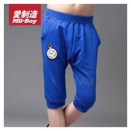 綠盒子品牌 愛制造夏裝男童懷表繡花舒適哈倫褲 藍色40402352 100
