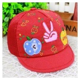 夏天嬰兒帽子寶寶帽子兒童帽子男女童草帽遮陽帽鴨舌帽小孩涼帽夏 紅色 0~1歲均碼50左右繫