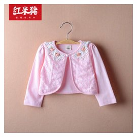 紅米豬2015薄外套春款 女童嬰兒 寶寶長袖純棉開衫一粒扣外套披肩坎肩80~120 粉紅色