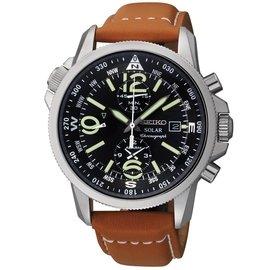 ~ ~SEIKO 精工 計時碼表系列 SSC081P1 黑錶盤 光動能 真皮錶帶
