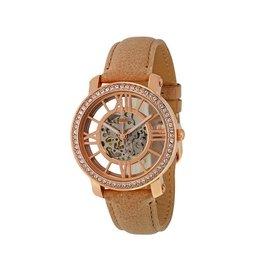 ~ ~FOSSIL 38mm 手錶 機械錶 皮帶 縷空 玫瑰金 水鑽 女錶 ME3060