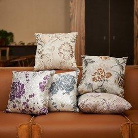 高檔奢華絲光提花腰靠枕靠墊沙發歐式抱枕含芯