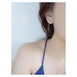 925純銀鍍白金字流蘇鑲鑽耳線耳環耳釘兩用方塊線條吊墜極細
