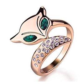 瑗昕狐狸綠水晶戒指玫瑰金潮女開口手鐲 耳釘飾品情侶 套裝