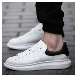 情侶板鞋阿甘男鞋 小白鞋女 增高松糕鞋子男 鞋潮鞋 8801男款白黑色 43