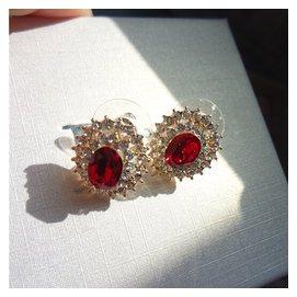 銀針紅寶石太陽花朵耳釘女日韓奢華氣質鋯石耳環女款水鑽飾品