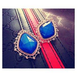 魔尚滿韓國東大門高檔飾品女辣妹同款藍寶石誇張銀針耳釘耳環