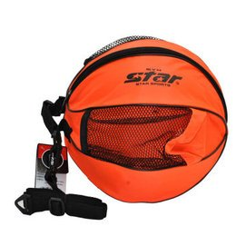 世達 籃球足球包 牛津布單肩包 帶側袋圓包 籃球型包113 橙色