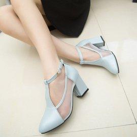 甜美糖果色單鞋女尖頭粗跟淺口中跟單鞋一字扣帶高跟女鞋
