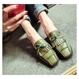 範帥氣復古搽色方頭舒適朋克單鞋 氣質女鞋流蘇女潮流 鞋