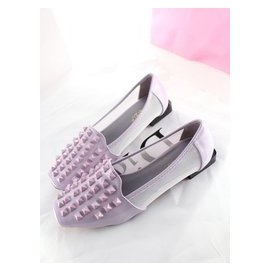 2014  女鞋方頭紗網低跟平底單鞋涼鞋百搭舒適漆皮鉚釘