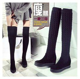 2015 三穿 真皮過膝靴 女 瘦腿彈力套筒 毛線長筒靴 厚底 內增高 坡跟 平底靴子 毛