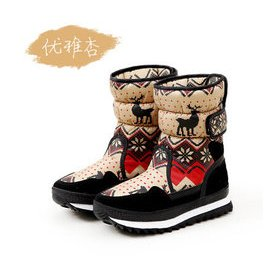 外貿 青歌Q.GER雪地靴 2015  麋鹿加厚保暖防雨防滑中筒厚底雪地靴女棉鞋 大碼