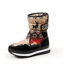 抗寒~30度 青歌Q.GER雪地靴 2015  麋鹿加厚保暖防雨防滑中筒厚底雪地靴女棉鞋