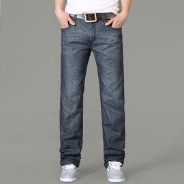 馬克華菲剪標直筒牛仔褲男商務 簡約百搭大碼男式牛仔長褲