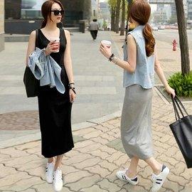 莫代爾長款吊帶背心裙子女韓國修身顯春秋連衣裙