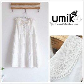 U.MIK森林繫外貿女裝  學院風甜美範鉤花恣層層拼接背心裙