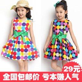 女童夏裝2016 純棉圓點兒童連衣裙中大童寶寶公主裙子