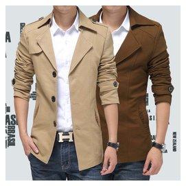 春 風衣男 修身中長款西裝領青少年妮子男裝英倫短款外套潮