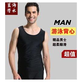 男士防曬短袖遊泳背心錦綸萊卡健身 上衣男遊泳無袖衝浪服