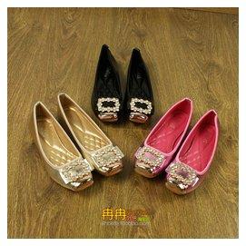 尾單 甜美 豆豆鞋女平底鞋淺口方頭水鑽單鞋平跟大碼女鞋