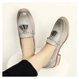 2015 新品英倫復古木根方頭平底女鞋擦色低跟流蘇文藝牛津單鞋