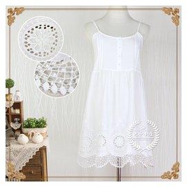蕾絲刺繡花邊吊帶裙 純白打底裙襯裙短裙大碼連衣裙百搭打底裙女
