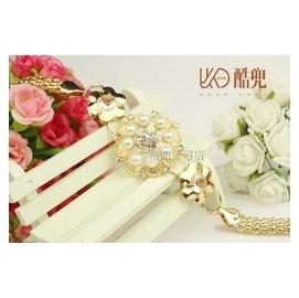 酷兜 虧本衝鑽酷兜 女士簡約 百搭珍珠鑲鑽花朵合金金屬腰鏈