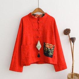 秋裝新品複古民族風棉麻中式盤扣女式短外套開衫上衣