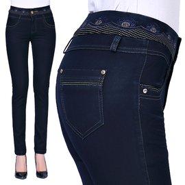 媽媽裝牛仔褲大碼長褲女小腳褲40~50歲中年女褲高腰褲子