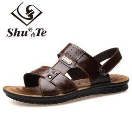 2016 男士頭層牛皮沙灘鞋 真皮涼鞋男鞋子涼拖鞋涼皮鞋 潮流沙灘鞋涼鞋 棕色 40