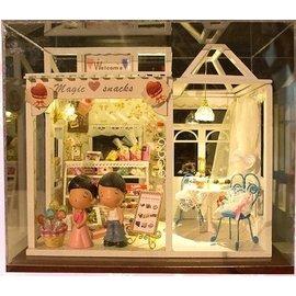 精美家居裝飾 DIY拼裝蛋糕店鋪模型屋甜蜜的愿望配防塵罩燈具~潮男社~