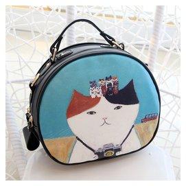 女款斜 包小包包小圓包2015夏 貓咪印花女包可愛斜跨包單肩包