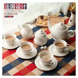 景德鎮歐式陶瓷咖啡杯具套裝 高檔奶茶杯茶壺骨瓷杯子