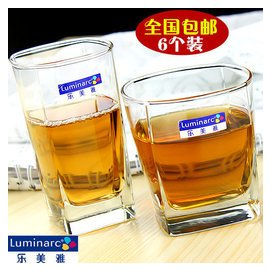 包郵樂美雅透明玻璃杯無鉛耐熱四方水杯茶杯啤酒杯威士忌杯 6個裝