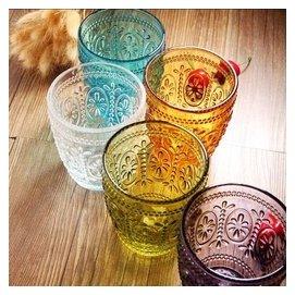 包郵歐式復古刻花五色浮雕玻璃水晶水杯茶杯琉璃果汁杯威士忌酒杯