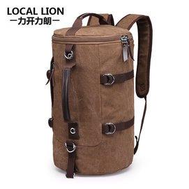 帆布雙肩包 背包圓桶包男女戶外旅行包行李包防水枕頭包大容量