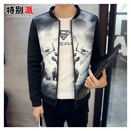 男士立領夾克衫大碼男裝外套青年 上衣學生印花棒球服開衫