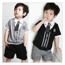 男童夏裝學院風套裝純棉短袖T恤 短褲 領帶演出服花童禮服