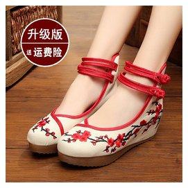 春 老北京布鞋高跟女鞋繡花鞋內增高媽媽鞋民族風坡跟厚底單鞋