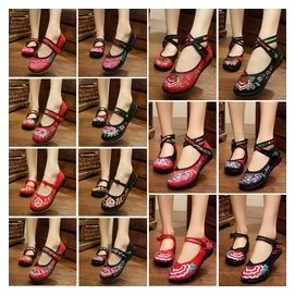正品老北京布鞋復古民族風格繡花鞋廣場舞蹈鞋平跟軟底 女單鞋