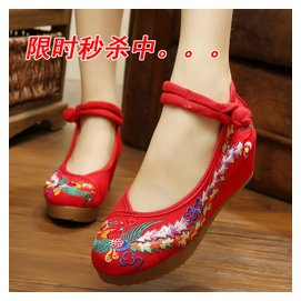 2016春秋款老北京女布鞋坡跟民族風繡花鞋布鞋厚底內增高女單鞋