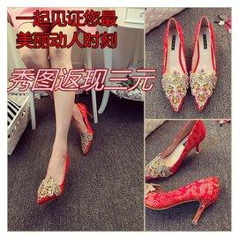 秋鼕傳統繡花水鑽高跟鞋新娘鞋綢緞細跟紅色婚鞋夏水晶旗袍小碼鞋