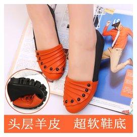 春秋新品舒適平底 豆豆鞋女鞋真皮低跟單鞋圓頭平跟駕車媽媽鞋