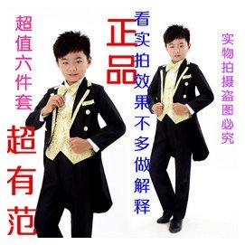 男孩小西裝男童禮服套裝夏白色燕尾服兒童演出服結婚花童小禮