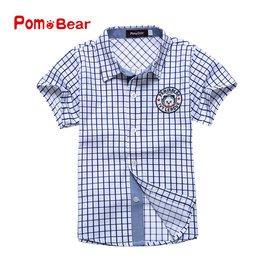 波姆熊男童襯衫短袖襯衣純棉 格子襯衫兒童半袖 表演服裝