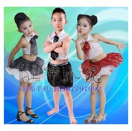 兒童爵士舞演出服女童亮片蓬蓬裙幼兒表演出服裝男童爵士舞蹈服裝