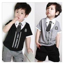 2014夏裝 貴族寶寶男童英倫學院風兒童演出服短袖短褲套裝