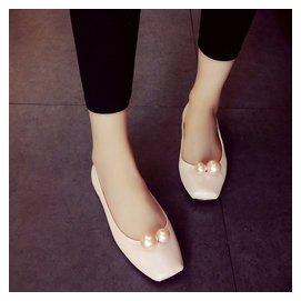 歐洲站 2016春款小95平底單鞋女芭蕾舞 平跟套腳方頭珍珠女鞋