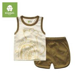 singbail 寶寶無袖短袖套裝女童男童T恤舒適短褲兩件套